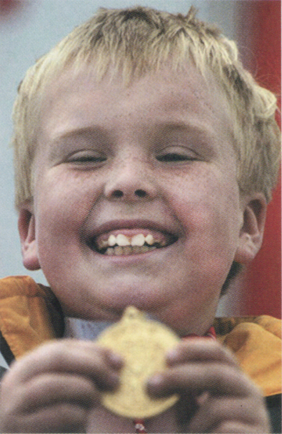 <em>Bryan Doran, from Newtown Cunningham, Co. Donegal, celebrates on June 23 after winning a gold medal in the final round of softball.</em>
