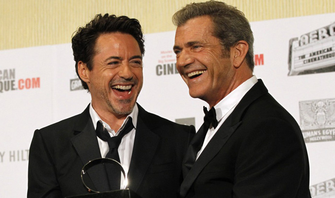 Robert Downey, Jr. and Mel Gibson at the American Cinematheque Awards