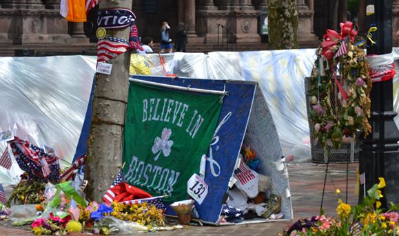 A makeshift memorial to the victims of the Boston Marathon bombings. Photo: Colette Quinlin.
