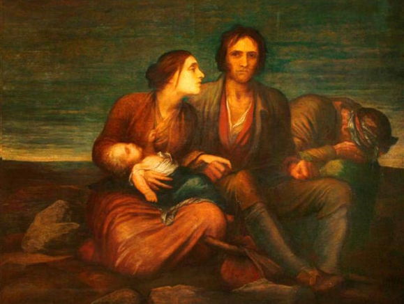 The Irish Famine, painted by George Frederic Watts c. 1848-1850, depicts a young family evicted from their home. The Watts Gallery.