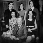 """A January 1971 portrait of Ohio's new first family, printed in the Columbus Dispatch """"With Gov.-elect John J. Gilligan and his wife, Katie, are their four children (from left): John (a Dartmouth College senior); Ellen (a high school senior); Kathleen (who graduated from Trinity College last June and since has been working in her father's campaign); and Donald (a teacher at Bishop Hartley High School)."""""""
