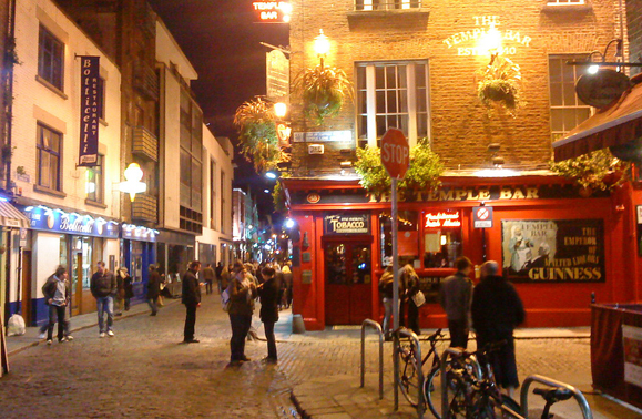 Temple Bar, Dublin at night. One of the locations Des Bishop visits in his new series Under the Influence.