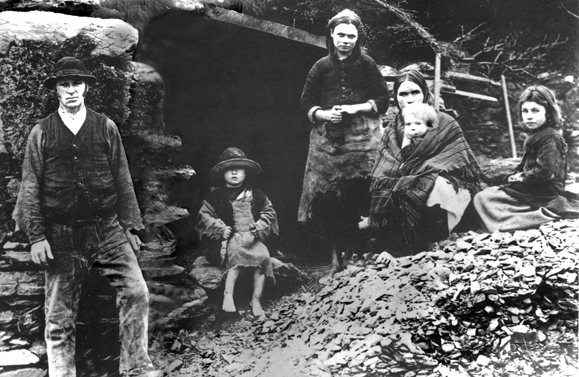 Eviction scene: The descendants of the family in this photograph, taken in Glenbeigh, Co. Kerry in 1888, may have survived the Great Famine, but one wonders what became of them following their eviction and demolition of their home. From the Sean Sexton Collection.