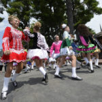 Members of the Boland School of Irish Dance perform during International Day at Saratoga Race Course. Photo: Skip Dickstein/Times Union.