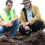 Jason Phelan, who found the prehistoric remains, and Eamon Kelly, Keeper of Irish antiquities at the National Museum at the Bord Na Móna Cashel bog outside of Portlaoise. Photo: Alf Harvey.