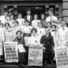 Rosie Hackett and Delia Larkin (front, center) with workers on the steps of Liberty Hall