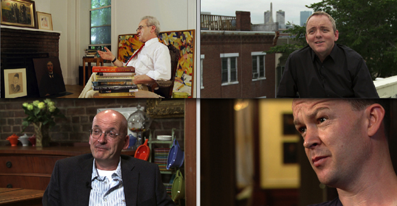 The Irish Writers in America series includes interviews with (clockwise from top left): John Banville, Denis Lehane, Enda Walsh and Roddy Doyle. Photos courtesy of Irish Writers in America/CUNY TV