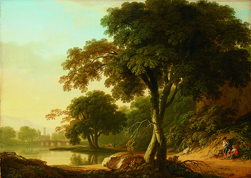 Thomas Roberts, A Wooded River Landscape with a  ruined abbey by a bridge and a travelling family resting, oil on canvas, 48.3 x 67.3 cm, private collection. Image courtesy of Pyms Gallery, London.