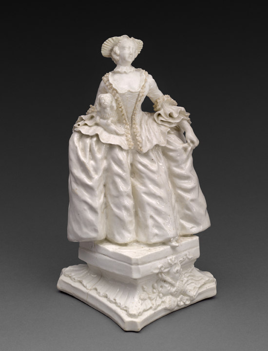 """Bow Porcelain Factory. Kitty Clive as the Fine Lady, c. 1750. The Dublin-born actress, Catherine 'Kitty' Clive (1711-85). This model of Kitty was created by The Bow Porcelain Factory founded by Anglo-Irish painter Thomas Frye (c. 1710 – 1762) who claimed to be """"the inventor and first manufacturer of bone china in England."""""""