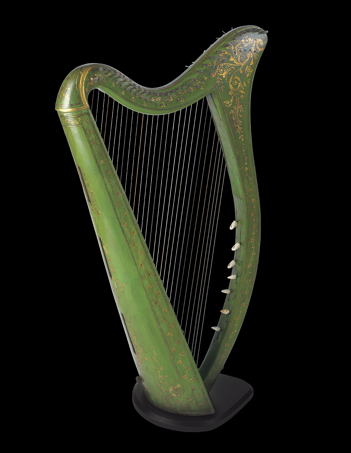 """John Egan Portable Harp, c. 1820. John Egan was an Irish musical instrument maker who is considered the father of the modern Irish harp. Egan overcame the restrictions of the traditional Irish harp by creating """"portables"""". Eighty of his classic harps are known to exist. The O'Brien Collection."""