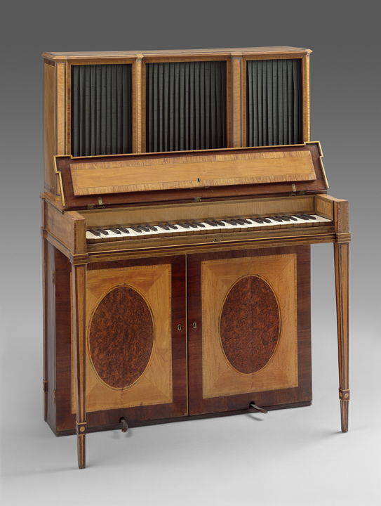 Robert Woffington First Upright Piano, 1790. Created in Dublin's Grafton Street noted instrument workshop. On loan from the Museum of Fine Arts, Boston.