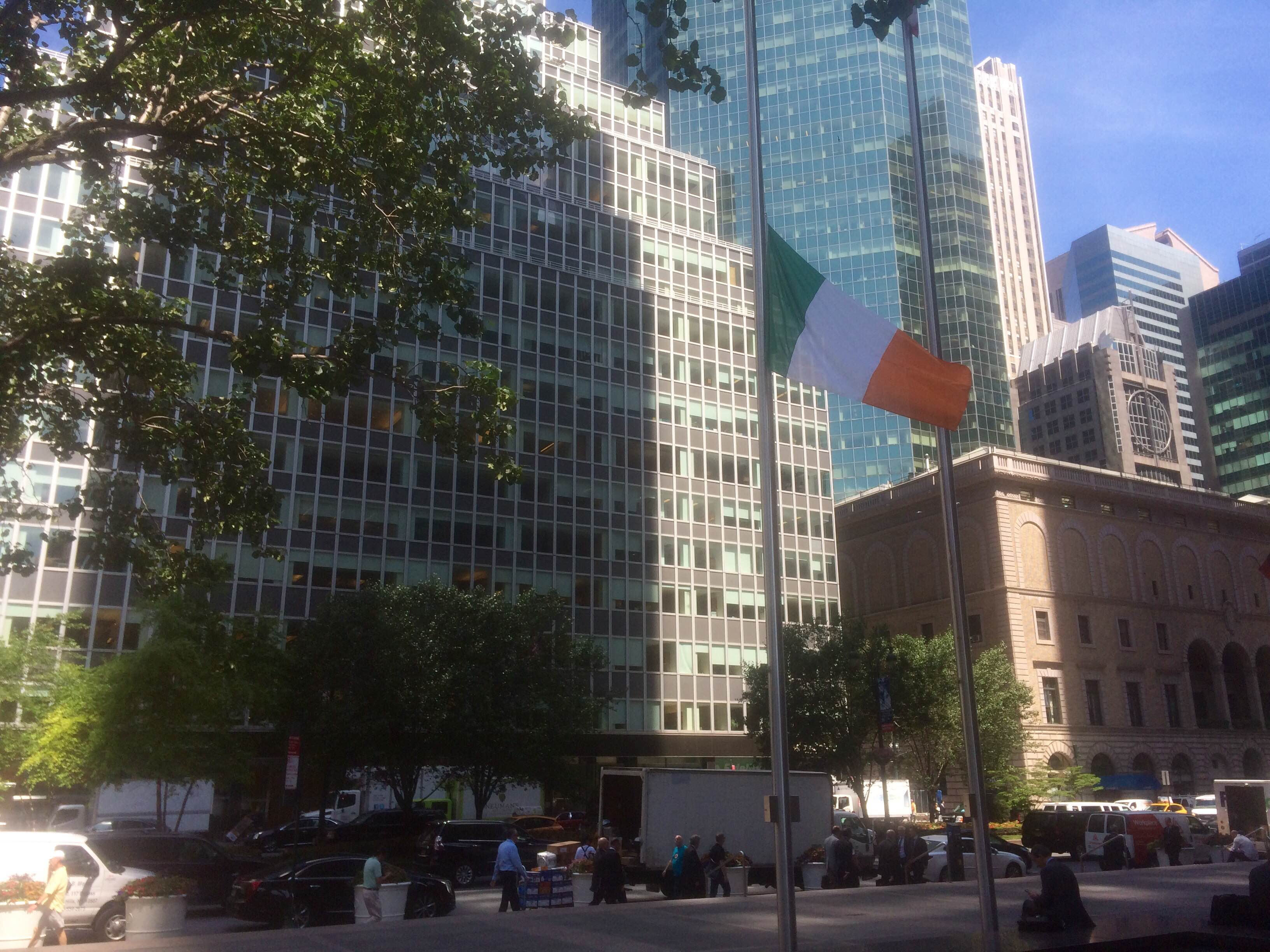 The Irish flag at half mast outside the Consul General of Ireland in New York City.