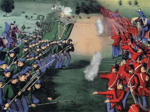 Historically accurate portrait of the Battle of Ridgeway. It was the first time the IRA insignia on the Fenian banner was used.