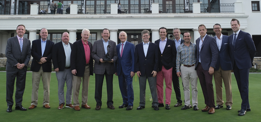 The Ireland Funds 2018 NJ Golf Classic Committee with Honoree Bob Garrett. L – R: Kyle Clifford, Anthony Callaghan, Eddie Dowling, Michael Higgins, Bob Garrett, John Fitzpatrick, Martin Kehoe, Angus Miller, Pat Leahy, Matthew McBride, George Stall, Michael Hurly, and Pat Tully.