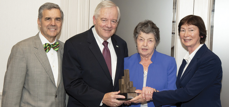 Jim Quinn, President of Flax Trust America with honorees Ed and Brigid Kenney and Sr. Mary Turley, Director of Flax Trust.