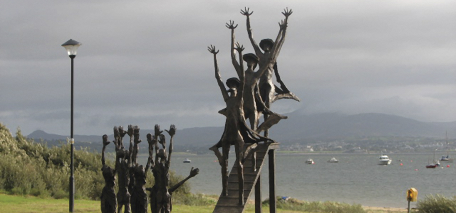 A bronze sculpture commemorating the Flight of the Earls in Rathmullan, County Donegal. It was from here that Rory O'Donnell (known as Red Hugh), the Earl of Tyrconnell (with his brother Cathbharr), and Hugh O'Neill, the Earl of Tyrone (with his son Hugh, the baron of Dungannon), and some 90 of their followers set sail for mainland Europe on September 4, 1607.