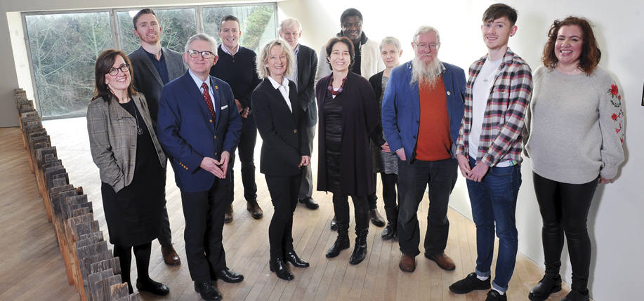 Members of the UCC's University Sanctuary Working Group with UCC President, Professor Patrick O'Shea (second from left), and Professor Caroline Fennell, Senior VP at UCC.