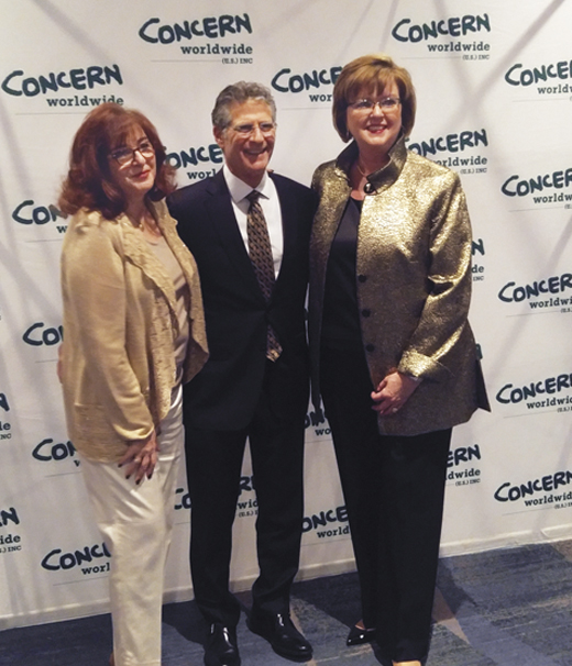 <em>Concern Worldwide Seeds of Hope 2017 honoree, Eileen McDonnell, pictured with Bob and Linda Eichler.</em>