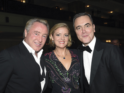 <em>Michael Flatley, and his wife Niamh O'Brien, with the actor Jimmy Nesbitt.</em>