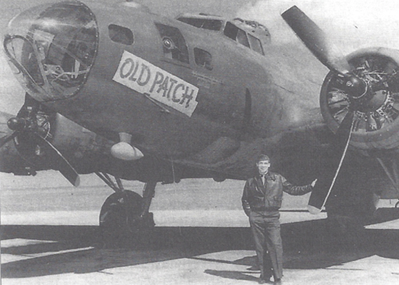 Patrick O'Neill's favorite plane, a B-17, and his favorite rank, captain, 1944.