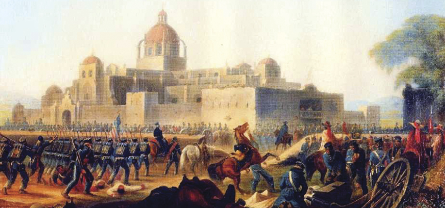The Churubusco monastery at the height of the 1847 Battle of Churubusco, during which the Batallón de San Patricio was captured, painted by James Walker.