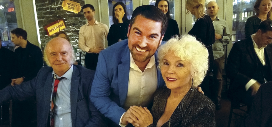 Fionnula Flanagan with Mark Lambert, who play Aunt Maggie Faraway and Uncle Patrick Carney, respectively, in The Ferryman, and Eoin Cannon, who plays Frank McCourt in Angela's Ashes: The Musical, which is destined for Broadway.
