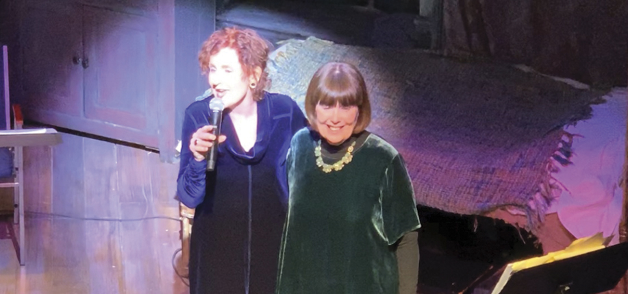 Singer Mary Deady and author Mary Pat Kelly in performance at the Irish Repertory Theatre.