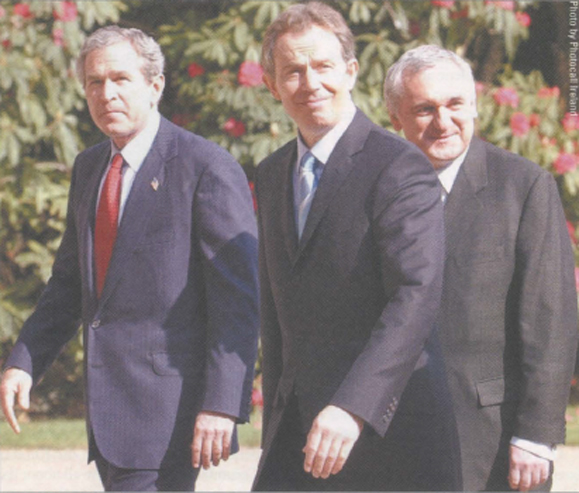 President George W. Bush, Prime Minister Tony Blair and Taoiseach Bertie Ahern at Hillsborough Castle at County Down.