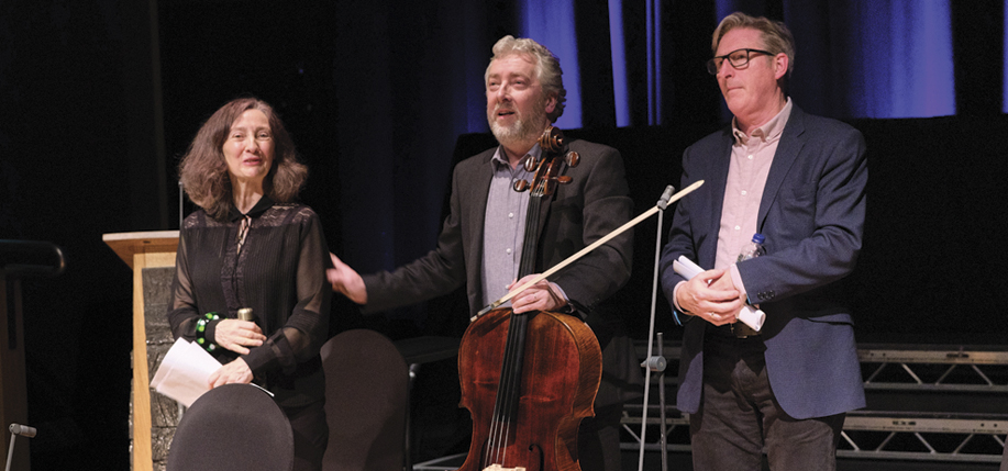 """Bríd Brennan, Adrian Dunbar, and Neil Martin at """"In New Light; An Occasion To Mark What Would Have Been Seamus Heaney's 80th Birthday."""""""
