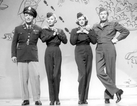 <em>Bing Crosby, Vera Ellen, Rosemary Clooney and Danny Kaye in <strong>White Christmas</strong>.</em>