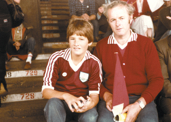 Brian and his father, Bernie Rohan, at Croke Park, 1981.