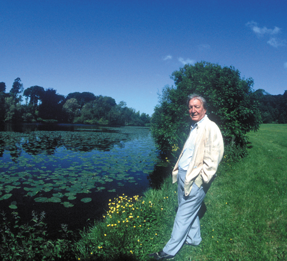 Charles Haughey on the grounds of his home, Abbeville
