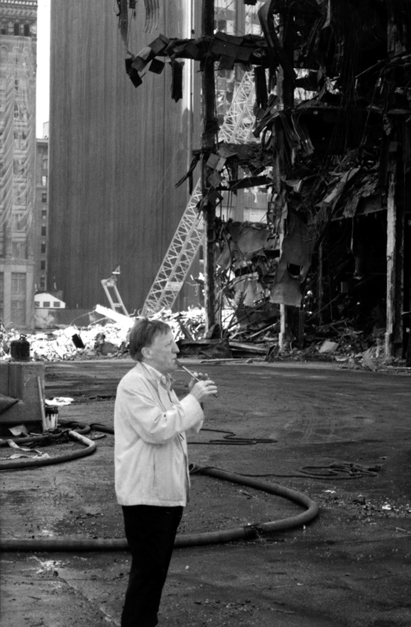 Chieftain Paddy Moloney plays the tin whistle at Ground zero in memory of those who were lost.