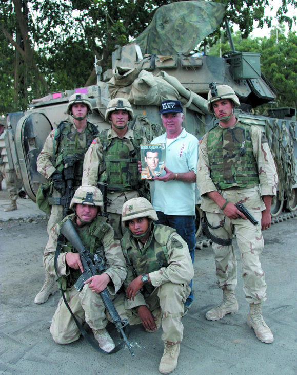 Larry Connors, veteran of the 7th Cavalry, and recently retired FDNY chief, brings Irish America to the troops in Baghdad. Connors, who lives in Long Island with his family, was part of a humanitarian aid airlift sponsored by the U.S. State Department and Diageo, an international distributer of beverages that includes Guinness.