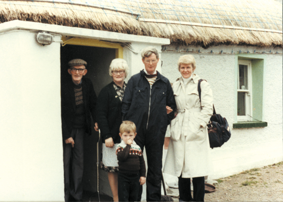 Paddy and his family on the steps of the old family cottage – from the left Paddy's father, his sister Mary and her son, Paddy and his cousin Phyllis.