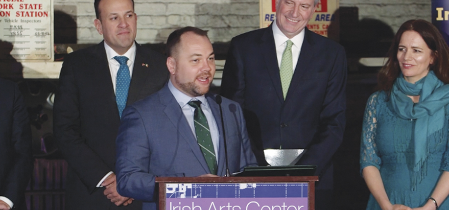 """Speaker of New York City Council, Corey Johnson, at the Irish Arts Center. Pictured are Irish Taoiseach Leo Varadkar, Corey, Mayor Bill de Blasio, and Pauline Turley, the center's vice chair. Speaking at the event, which marked a $2.5 million grant from the Irish Government to the center, Johnson said: """"The story of this project, in many ways, is the story of Ireland and the story of New York. It's persistent, gritty history of how we moved this project forward."""""""