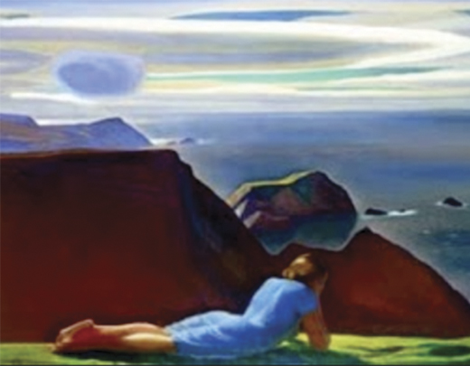 """""""Annie McGinley"""" lying on the Donegal cliffs, by Rockwell Kent. Courtesy of the Plattsburgh State Art Museum."""